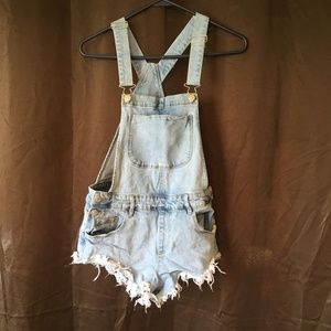 Forever 21 overall cutoffs small shorts faded